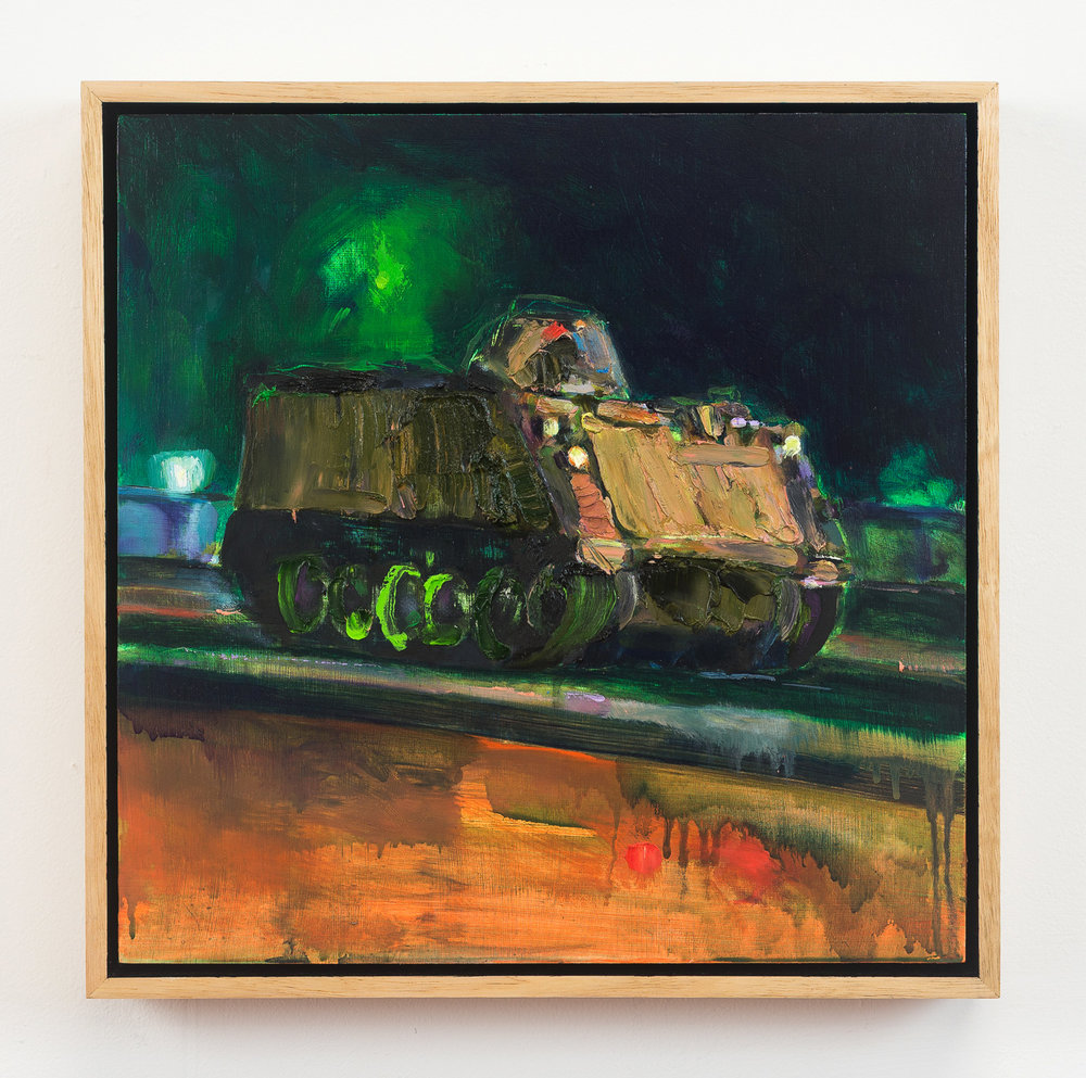 Tank  2018 Oil on Wood, 33 x 33 cm  Photo: Ethan Blackburn