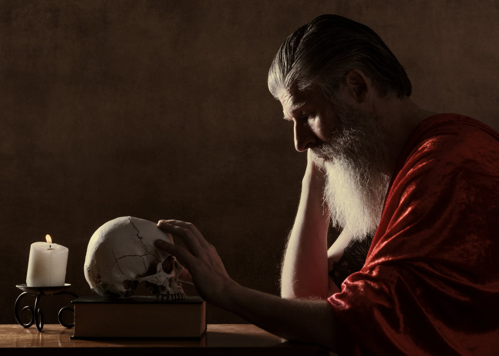 """Saint Jerome"". Don Lickley - actor, model and ex-librarian posing as Saint Jerome who is recognised as the patron saint of translators, librarians and encyclopedists. Personal work by Dragos Ionescu."