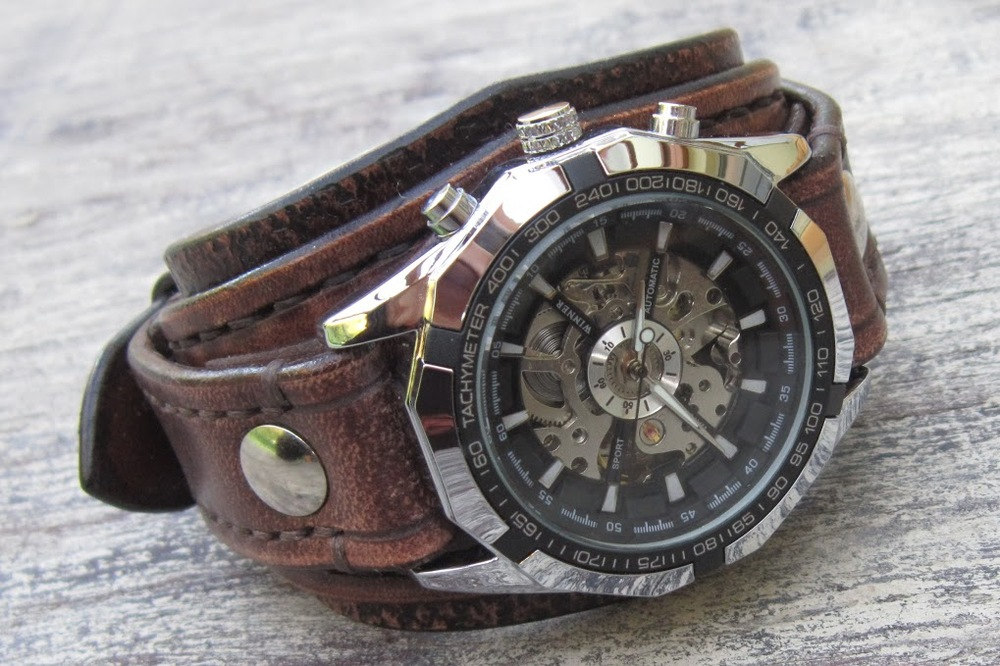 leather cuff watch