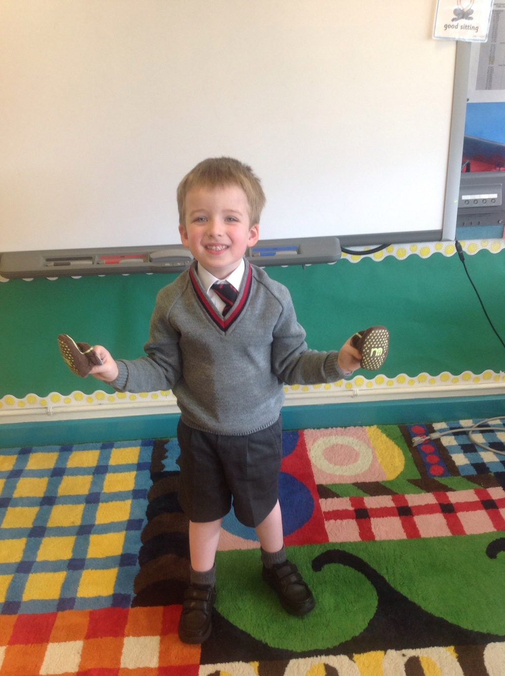 Ethan was so excited to tell us all about his first ever pair of slippers!