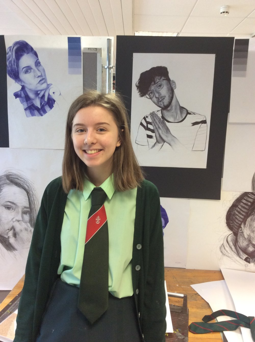 Mia Vidamour - pictured in front of her stunning AS portfolio work