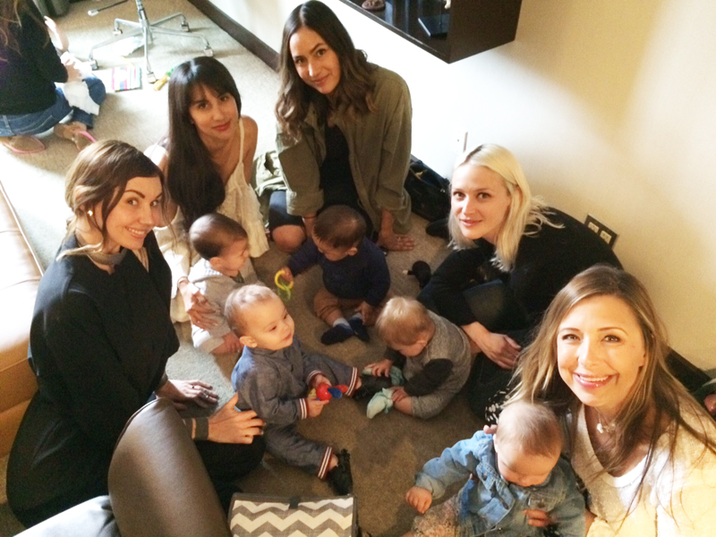 Cuteness overload! From left to right: freelance fashion powerhouse   Katie Kay Mead   with her baby boy Atlas, FMLA founder Natalie Alcala with Diego, fashion designer Renee Garcia with baby Beau, model   Lauren Hastings   with her little gal Monroe, and entertainment guru   Roxy Manning   with baby Bray.