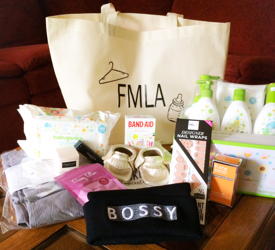 And now, the gift bag: babe-safe essentials from   Babyganics   (our event sponsor!),   Freshly Picked  's bestselling moccasins,   NCLA   custom FMLA nail wraps,   Kate Somerville  's ExfoliKate treatment,   Cotton Rainbow  's Eclipse stroller cover,   Neon Rae  's adorable beanie,   Beautycounter  travel-sized beauty products,   Oh Joy  's colorful Band-Aid collab, and   Philosophie  's addictive Berry Bliss protein powder. Whew!