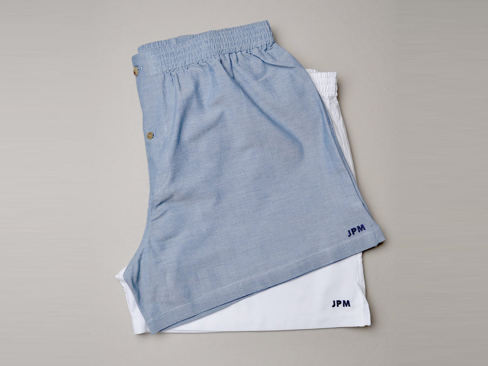O'Harrow Clothiers Chambray and Cotton Monogrammed Boxers, set of 2 , $68