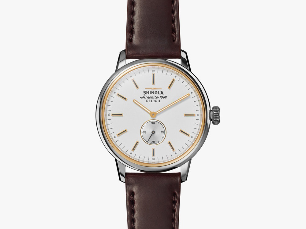 Shinola The Bedrock 42mm watch with leather strap , $700