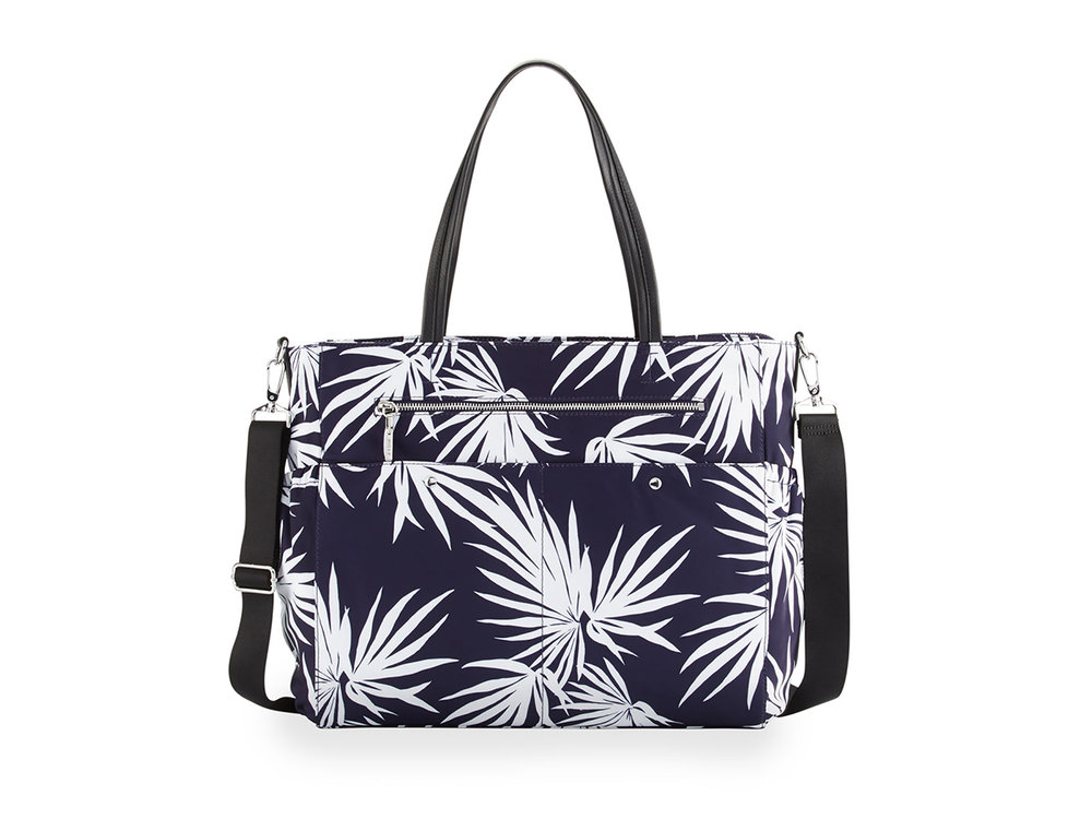 Milly Minis Palm-Print Diaper Bag in Navy , $273 (orig. $365)