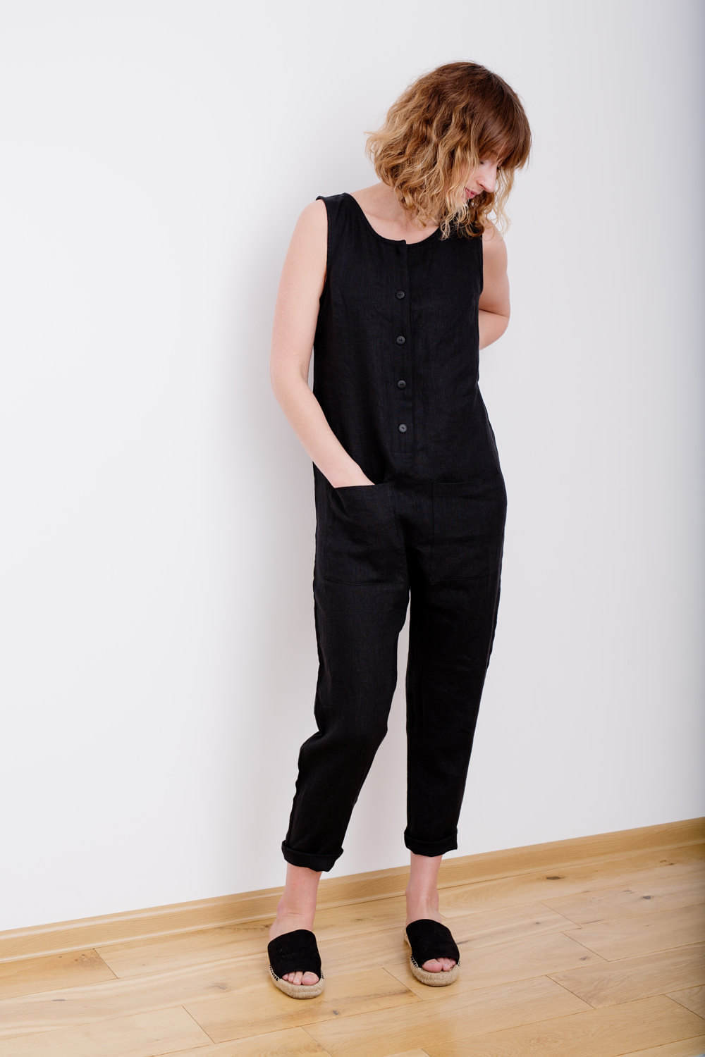 For mama: OffOn  Black Linen Jumpsuit , $115.48
