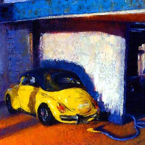 "Little Topaz  Oil on Panel  18"" x 18"" Spring cleaning on lower Varick Street in New York. #painting #instaart #light #citylife #davidfebland #art #arte #artist #artcollector #kunst #oilpainting #oiloncanvas #contemporaryart #auto #vw #representationalart #representationalpainting #gasstation #story #narration #nyc #newyork #summer #artistsoninstagram #varick#color#sunset"