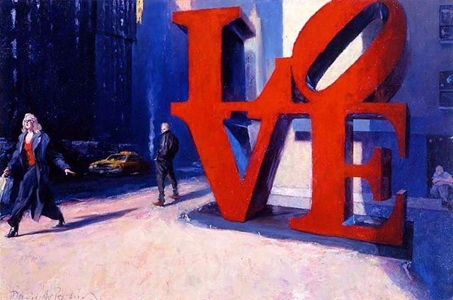 "Indiana Love Triangle  24"" x 36"" Oil on Canvas. I meant to post this last week in honor of Robert Indiana's passing but life intervened. #art #arte #kunst #robertindiana #love #painting #oiloncanvas #oilpainting #figurativeart #representationalart #representationalpainting #contemporaryart #artworld #citylife #light #instaart #davidfebland #sculpture #culture #newyork #nyc#narration #artcollector#artistsoninstagram"