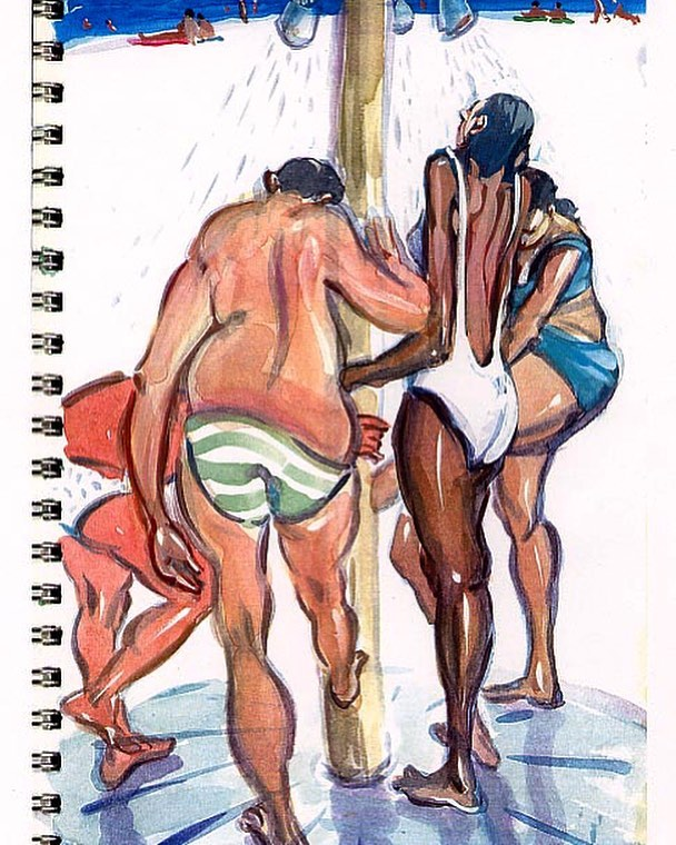 Just posted this but l hit the fade button accidentally. A better image. #art #arte #artist #sketch #sketchbook #contemporaryart #representationalart #davidfebland #fineart #gouache #gouacheonpaper #worksonpaper #ontheroad #unterwegs #hungary #Ungarn#magyar#water #summer #spa #swimming