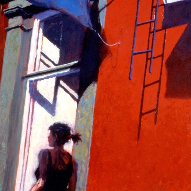 "Body Architecture  11""x14"" Oil on Panel  A little painting while I muse upon other things. Summer (or at least warm weather) has come to the city and people are out and about the streets. In Manhattan at least, fewer and fewer of these buildings with hanging fire escape ladders remain.#architecture #art #arte #artist #city #citylife #cityscape #figurativeart #representationalart #contemporaryart #painting #oilpainting #color #kunst #street #story #narration #davidfebland"