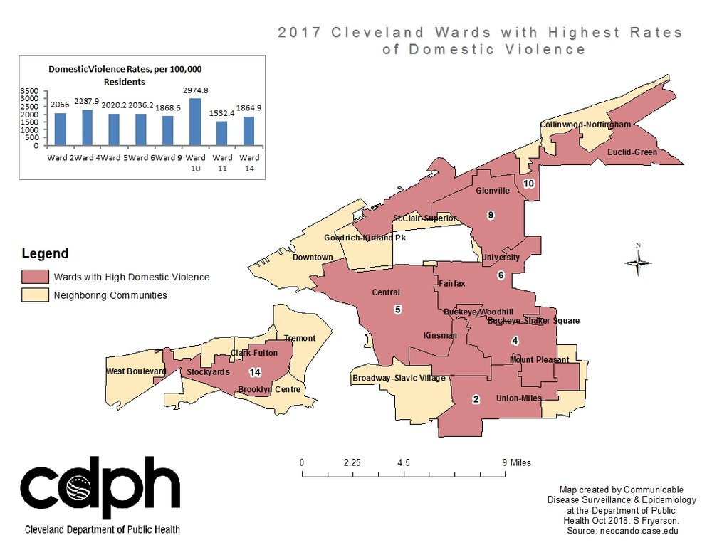 Domestic violence in Cleveland during 2017, displayed by Ward boundaries.