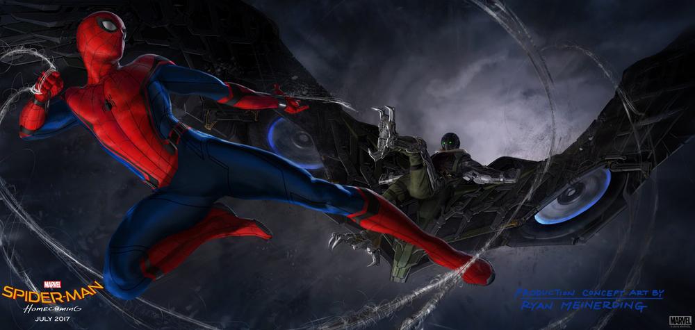 스파이더맨과 벌처가 대결하고 있는 <스파이더맨: 홈커밍> 컨셉 아트