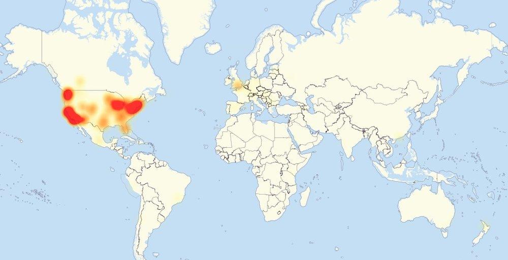 21일 오후(현지 시각) 기준 인터넷 장애 현황. (Level3 제공)