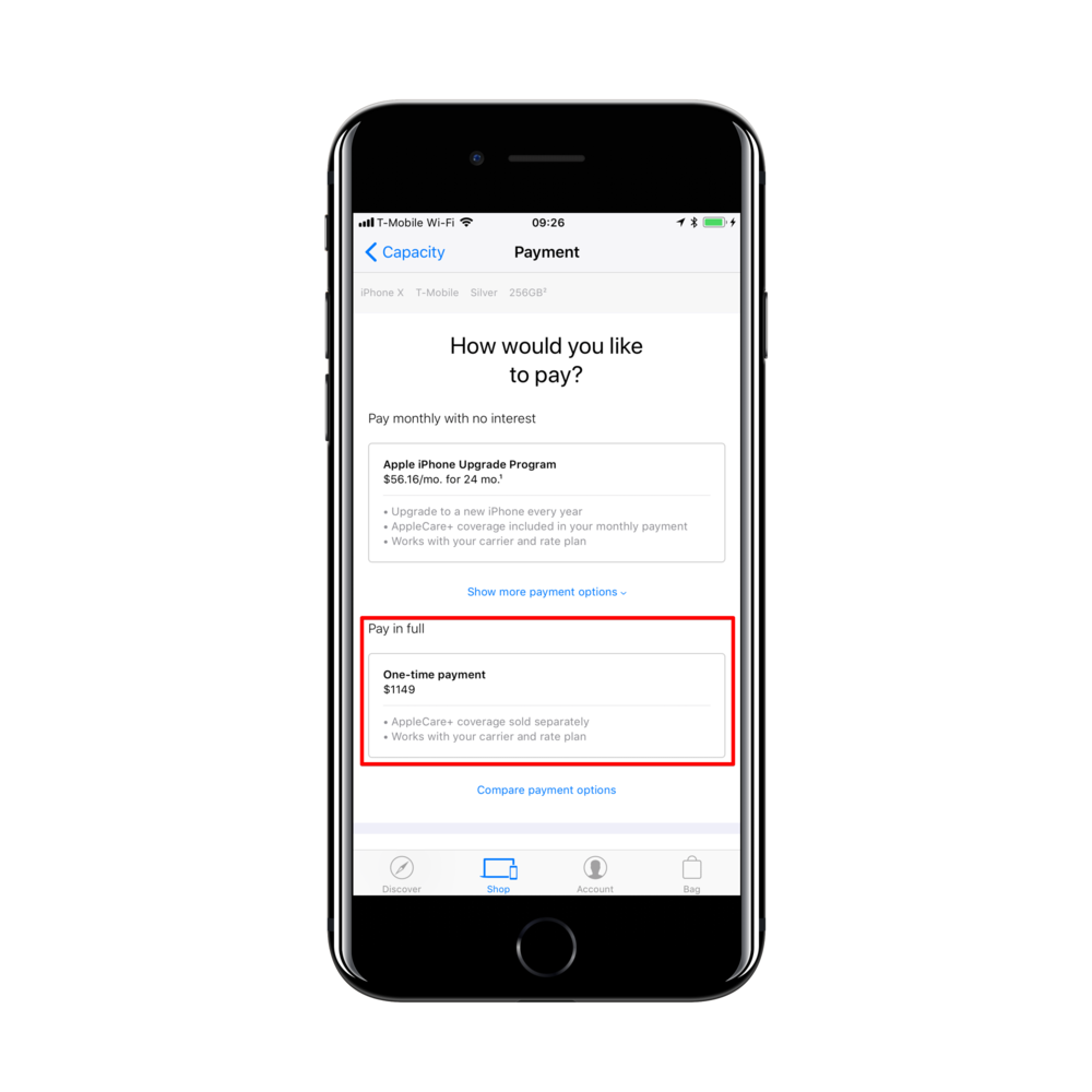 """결제 방법은 아래의 """"Pay in full(일시불)""""을 선택하세요. 만약에 SIM Free를 골랐다면 자동으로 일시불 옵션이 선택됩니다."""