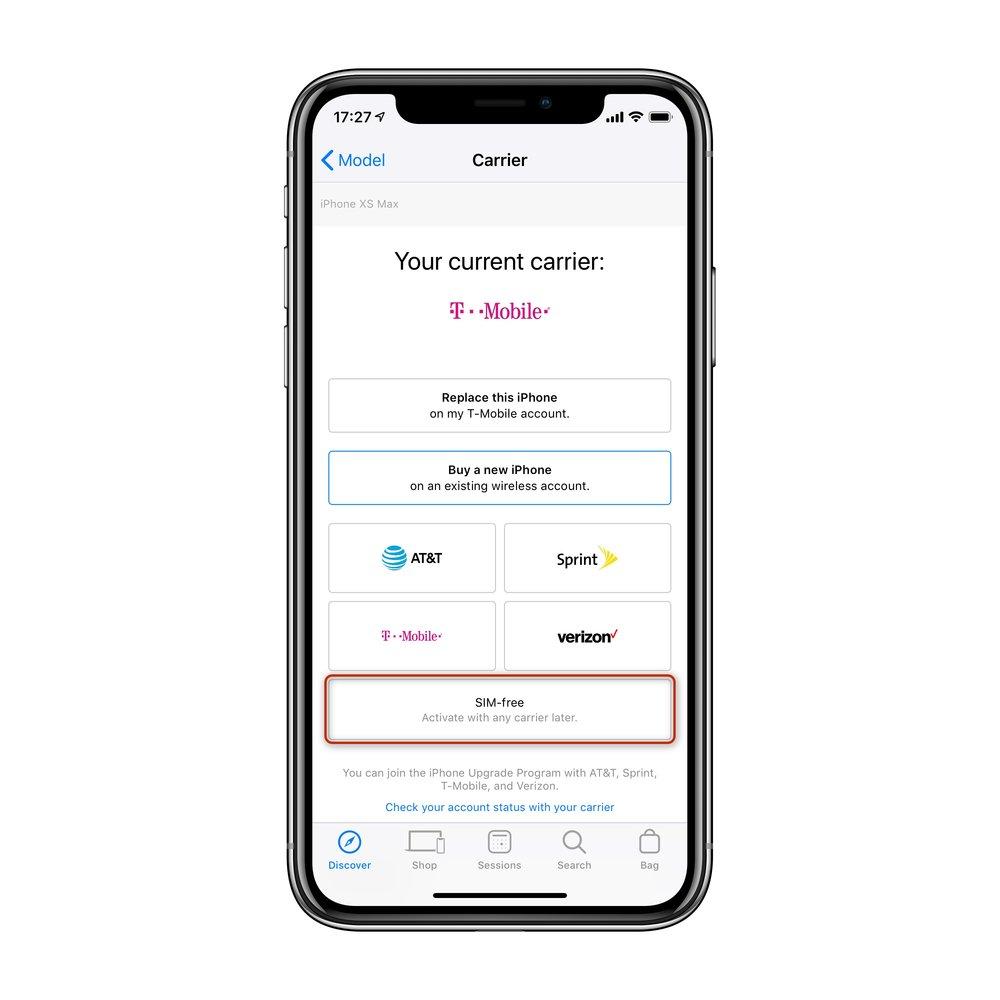 """통신사 선택에서 """"SIM Free""""가 있다면 선택해주세요. 없다면 T-Mobile을 선택해주세요."""