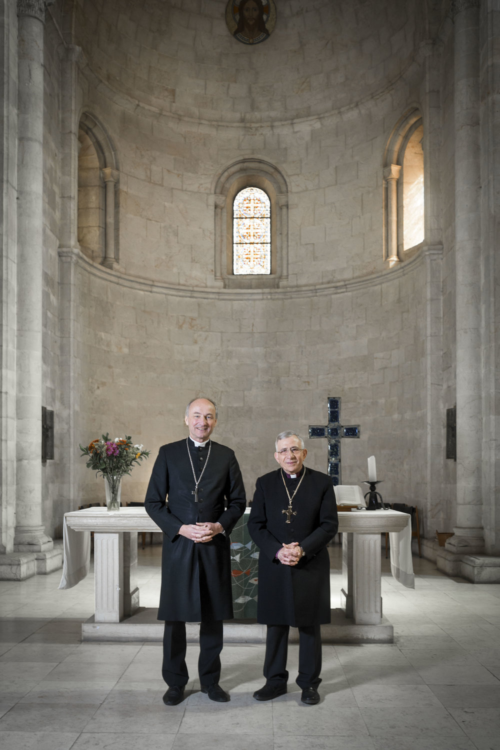 Portrait of Rt. Rev. Bishop Dr. Munib A. Younan (r.) and the Right Reverend Wolfgang Schmidt, Propst (l.) in the Church of the Redeemer in Jerusalem's Old City.