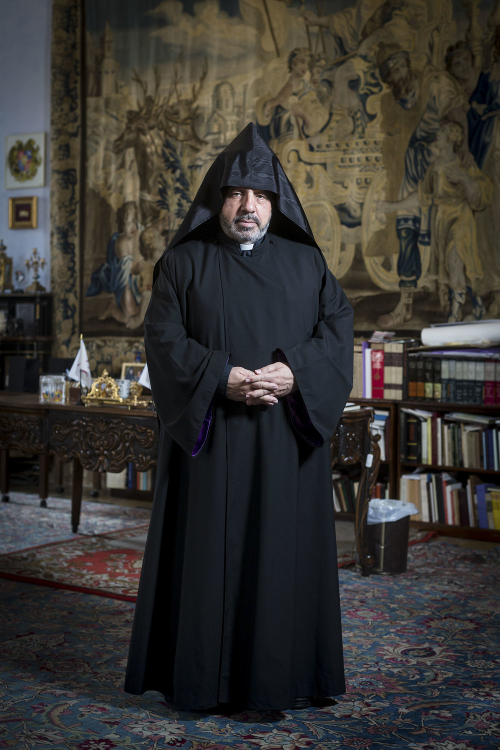 Portrait of Archbishop Nourhan Manougian, Patriarch of the Armenian Orthodox Patriarchate of Jerusalem in Jerusalem's Old City