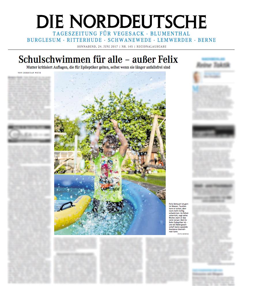 """Portrait of Felix for Weser Kurier / Norddeutsche - """"Schulschwimmen für alle - außer Felix"""" by Christian Weth"""