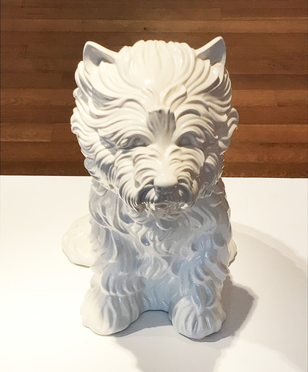 15.	Jeff Koons. Puppy (Vase), 1998. White glazed porcelain, ed. 1817/3000, 17 ½ x 17 ½ x 10 ½ in.