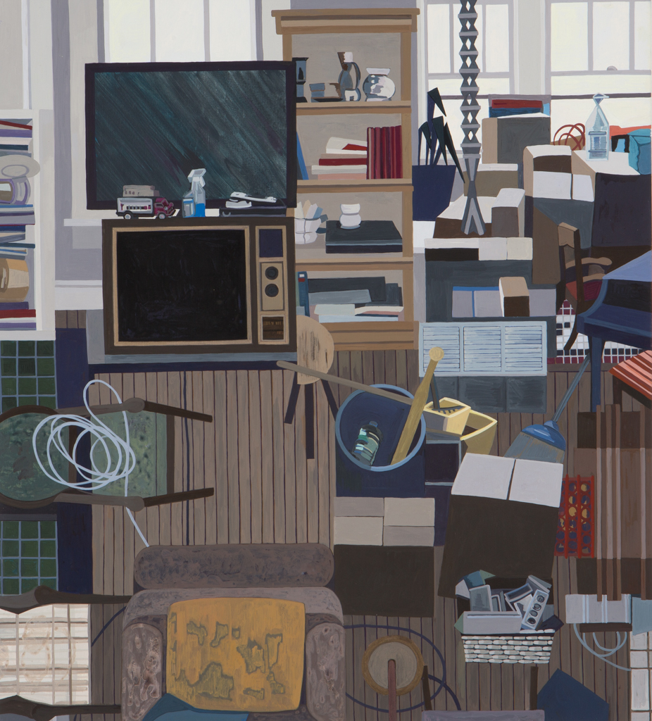 Ann Toebbe. John's Two TVs. 2016. Gouache on panel, 20 x 18 in.