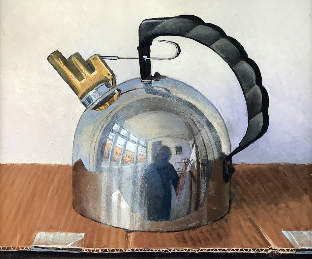 Eric Forstmann. He Kettle, 2016. Oil on board, 10 ½ x 12 ½ in.
