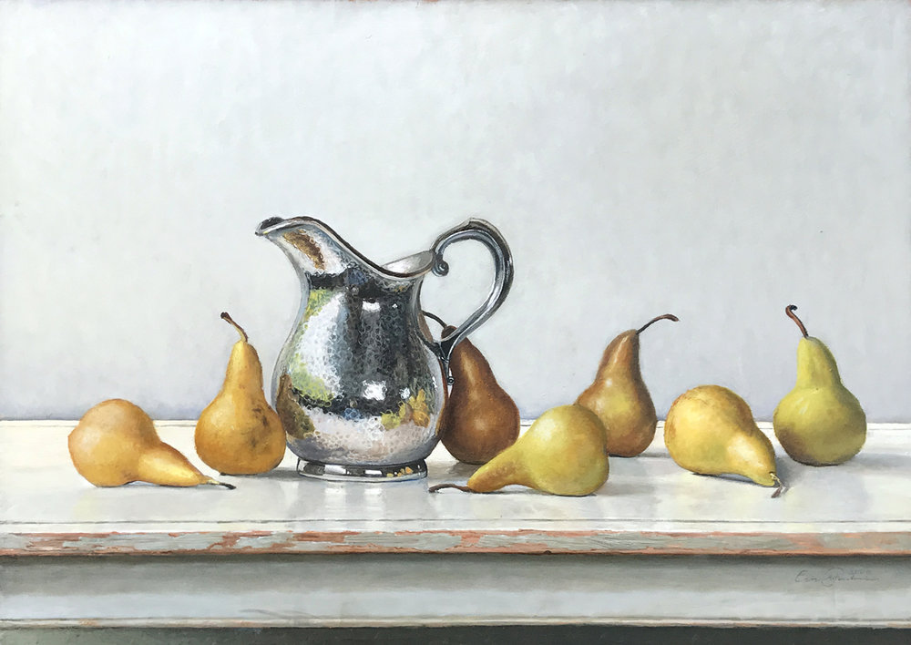 Hammered Pitcher with Pears, 2009. Oil on board, 16 1/2 x 22 1/2 in.