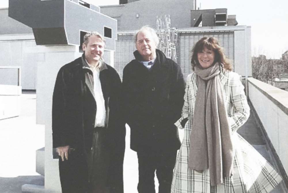 Mattatuck Museum Director Bob Burns, Don Gummer, and Jane Eckert. Image cred: Mattatuck Museum