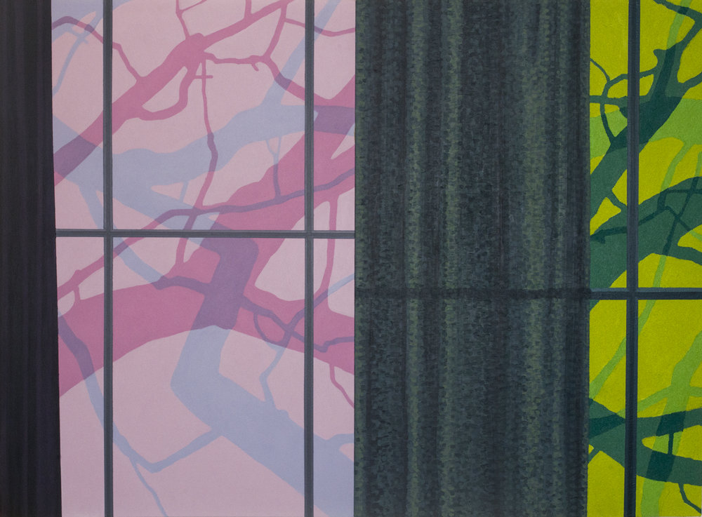 George Rush. Windows and Curtains (Pink & Green), 2016. Acrylic and pumice on two canvas panels, 50 x 68 in.