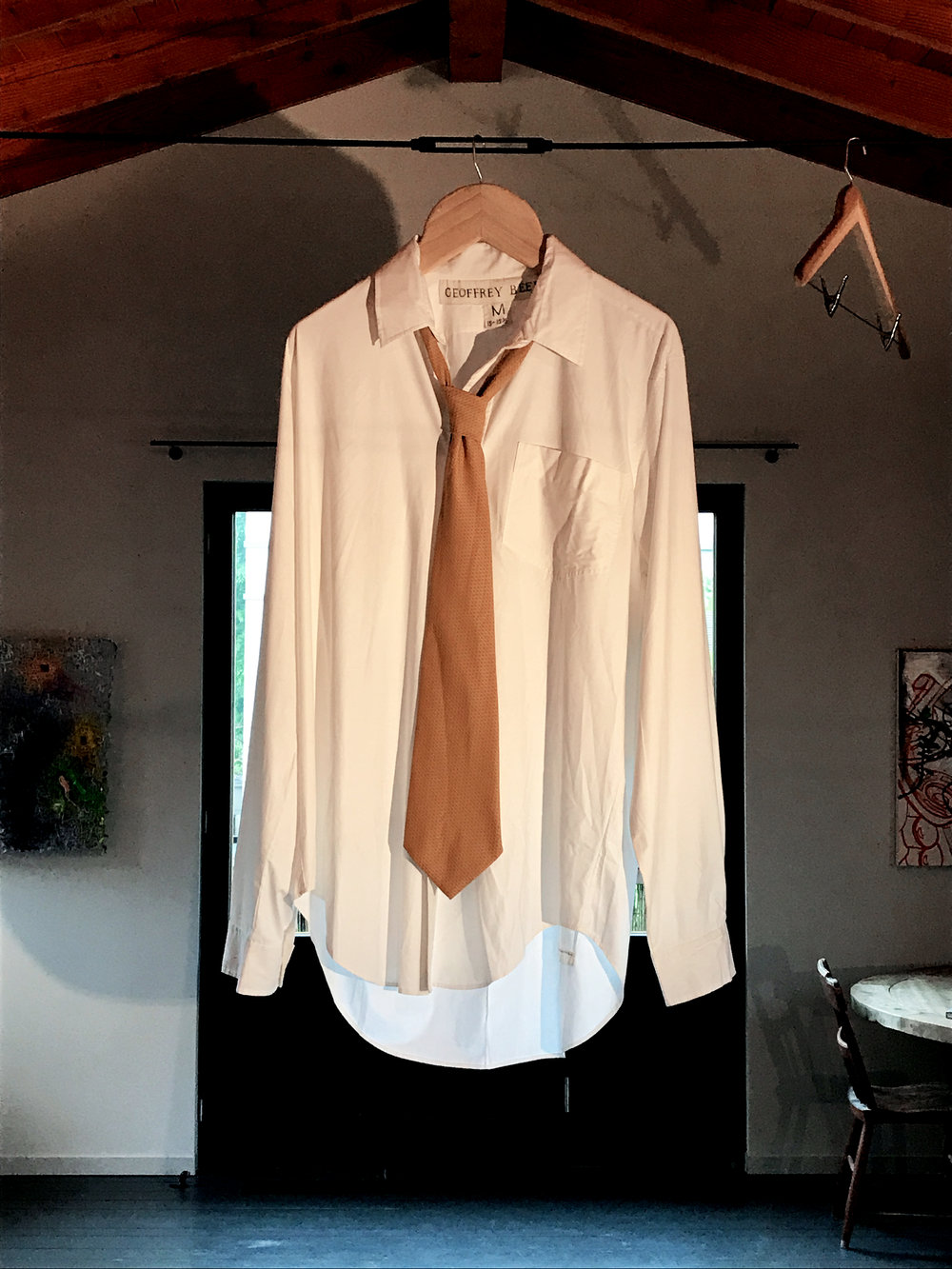 Sidney Russell. Man's White Formal Shirt With Tie, 2016.