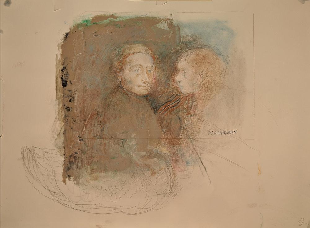 Carolyn Plochmann.   Untitled.  Mixed media on paper, 22.5 x 30 in.