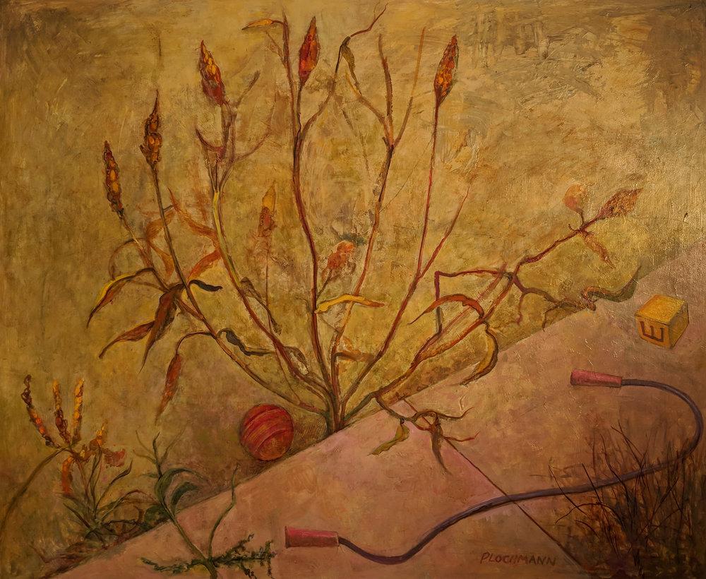Carolyn Plochmann.   Weeds,  1992. Acrylic on board, 40 x 48 in.