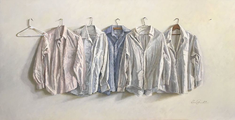 Eric Forstmann.   Pale Shirts.  Oil on board, 22 x 42 in.