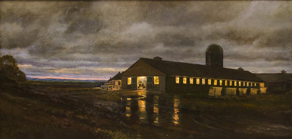 Eric Forstmann. Dairy Barn at Night.