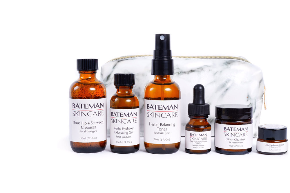 Travel Kit - Enhance your trips, weekend or week long, with our future leather (V) travel kit: our core cleansing & anti-aging 4 step regimen (Rose Hip & seaweed Cleanser, AHA Gel Exfoliator, Herbal Balancing Toner, Daily Hyaluronic Moisturizer or Serum.