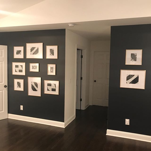 Gallery wall install...swipe backward to see the progress all the way back to painting the wall...can't wait to finish the rest of the room.