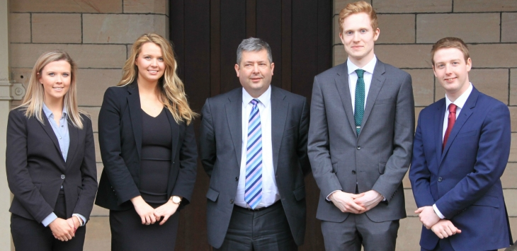 From L: Lindsay McCormick (Deputy Student Director), Caitlin Hurst (Student Director), the Lord Advocate Frank Mulholland,  David Ridley (Senior Adviser) and Fraser Stewart (Senior Adviser).