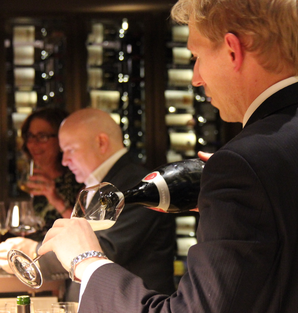 Assistant head sommelier Gareth Ferreira in action