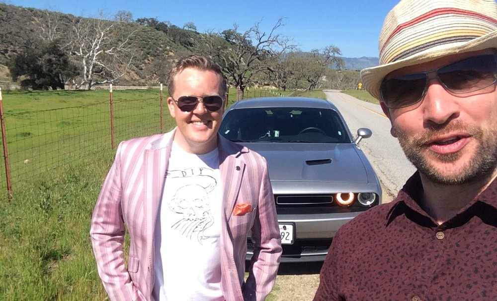 Olly and me on the road in California, en route to record P!nk