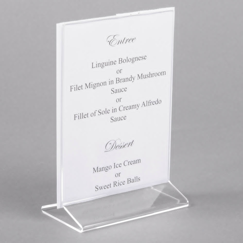 Place important information where it will be most visible for your guests with this clear acrylic displayette.   This clear two sided acrylic displayette is an ideal source for your customers to find daily specials or upcoming events. Since it can be used on tabletops, it provides information right where the customers can see it easily. Whether you want to promote specials in your restaurant, dishes available at a catered event, or upcoming events, this tabletop displayette makes it easy for you to get your message out.    We can do these in a 4x6 size for only $2.85 each and we can do a full color insert for you for only $0.09 each at 1000 quantities.