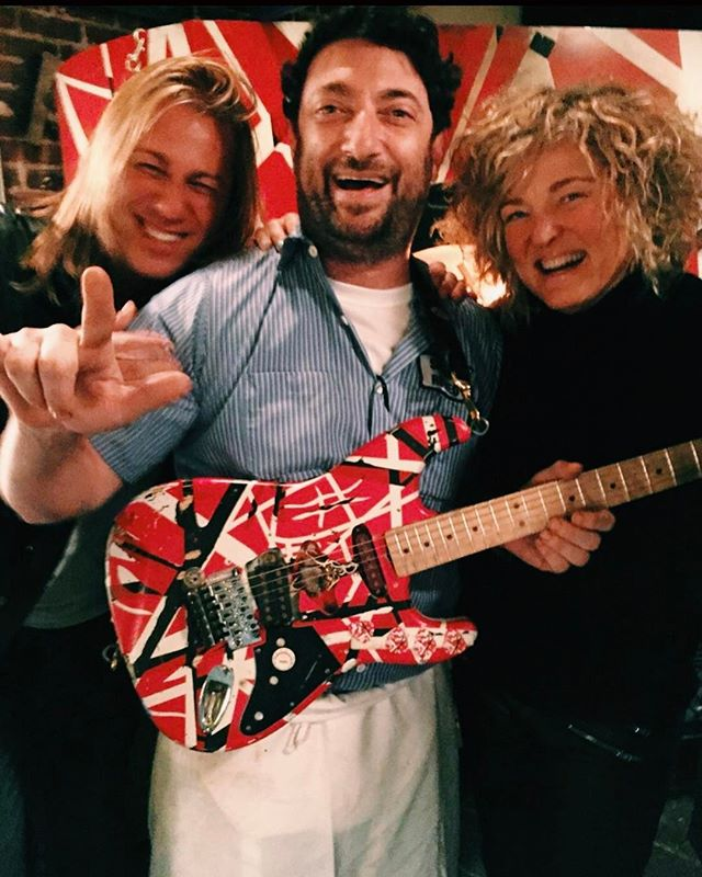 "The best part of owning a restaurant is you'll never know who will walk in, and what they will bring! These folks saw our oven and said, ""Wait! We have one of EVH guitars with us! @chuckiecheeze33 in metal heaven! Eat your heart out @squish108"