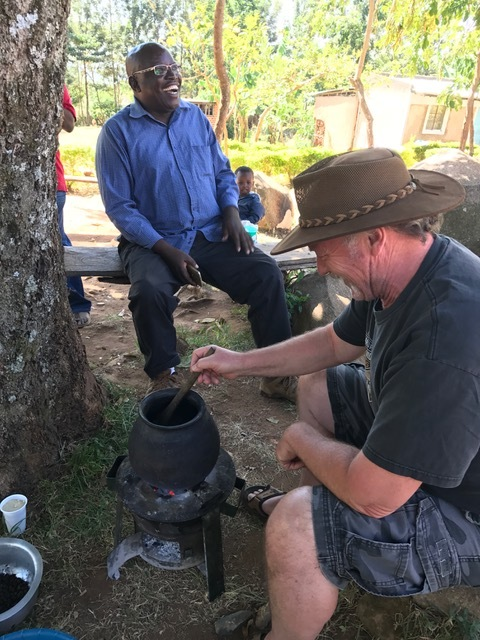 Randy Darling roasting Real Kenyan coffee beans. I'm not sure if we will ever get Randy to leave Kenya now! He's having way too much fun with his passion and hobby!