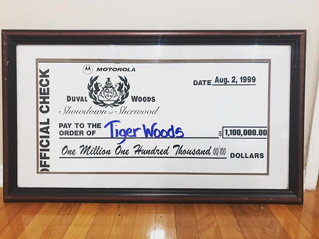 A cool piece of sports history. A check from the first Monday night prime time golf showdown in 1999. After looking at prize money breakdowns from that time, I believe this is the first check to ever be presented to a golfer for over $1 million dollars. #TigerWoods