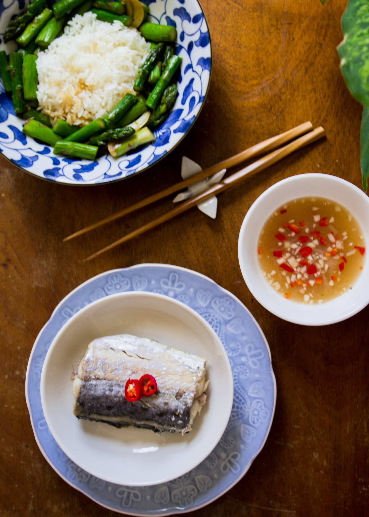 Steamed Mackerel with Lemon-Pepper Sauce