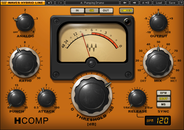 Waves H-Comp is a fiddly compressor that can shape transients.
