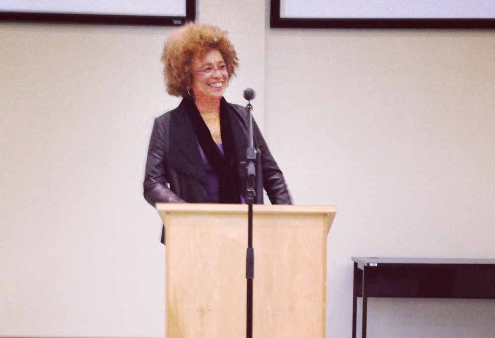"Human rights activist and feminist theorist Angela Davis at the University of Alberta speaking "" On Prisons, Race, and Gender Based Violence "" - March 2014"