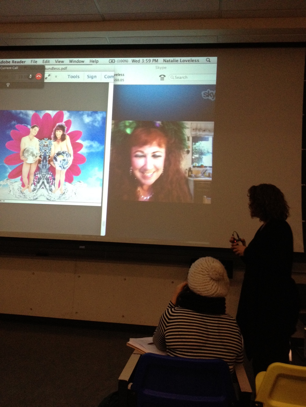 Annie Sprinkle giving a Skype lecture to students in the University of Alberta's fall 2013 Gender, Sexuality, and Visual Culture course.