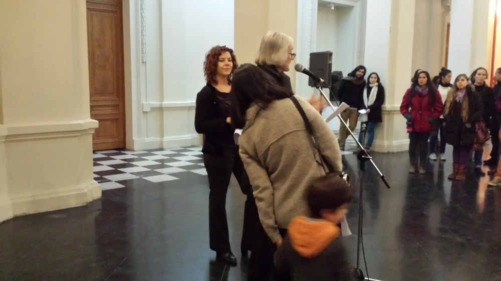 Being introduced by the director of the  Museo D'arte Contemporanio , Francisco Brugnoli, during the opening of New Maternalisms ~ Chile, June 2014.