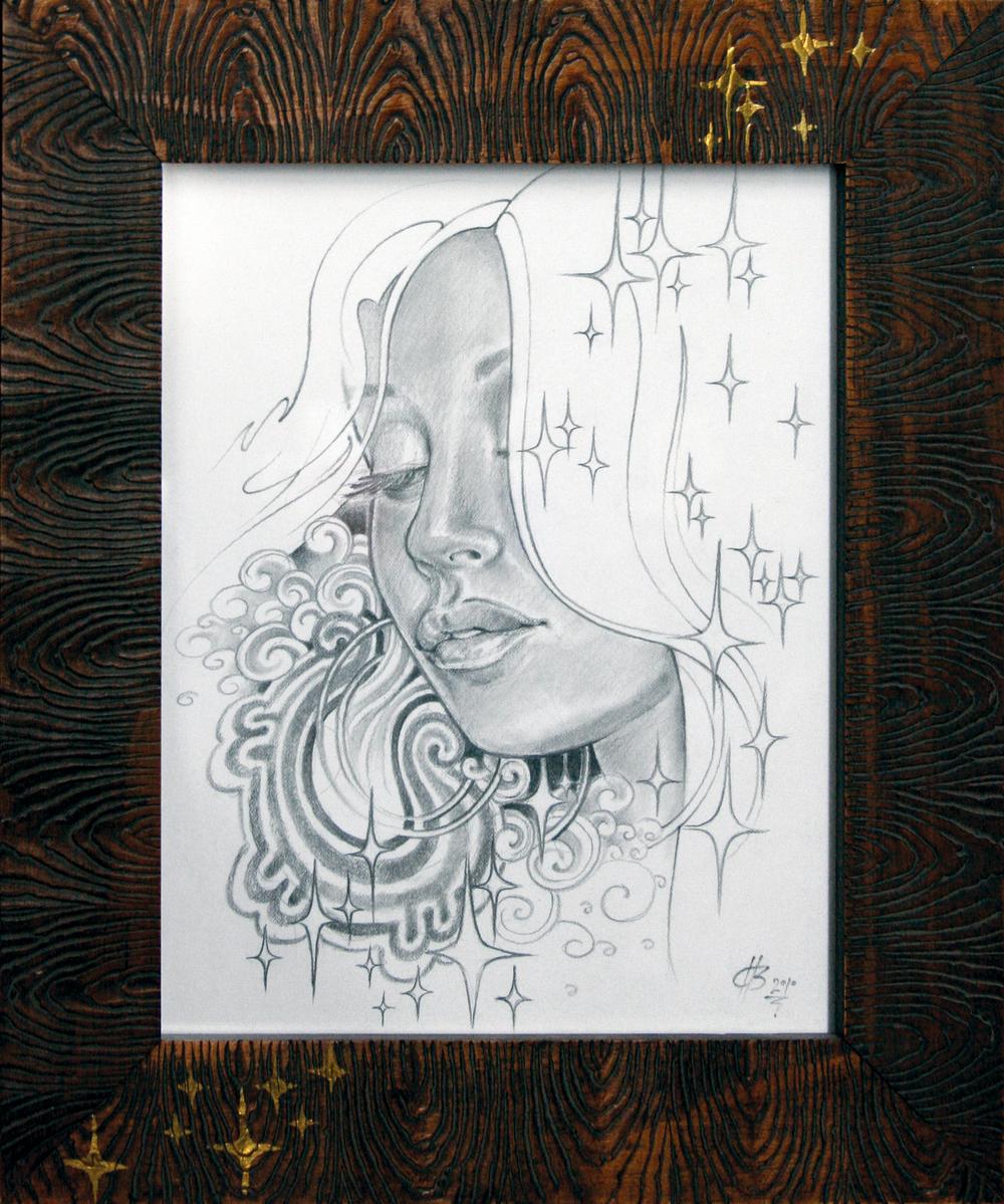 "La Luna.  2010 - pencil on paper. 11"" x 14""."