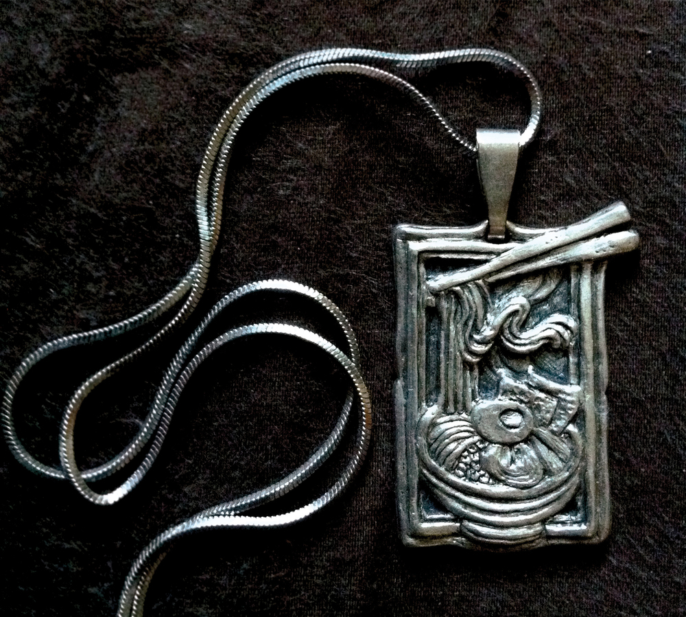 "Untitled (Ramen Necklace).  2011 - silver. 1"" x .5""."